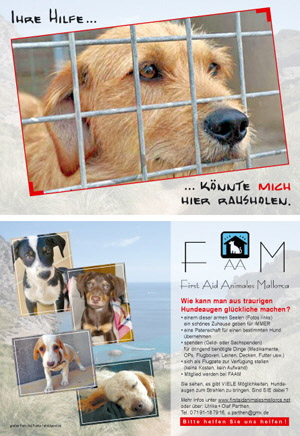 Werbeflyer First Aid Animales Mallorca